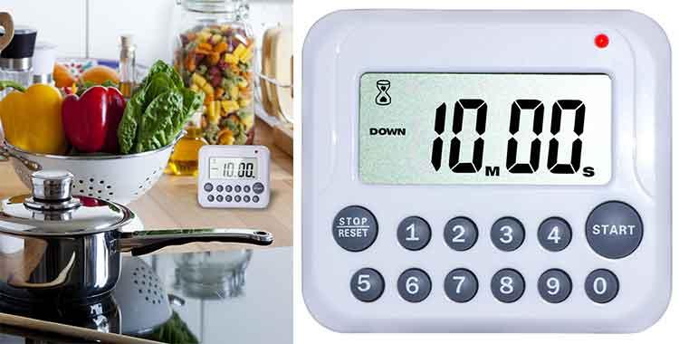 Timer cucina contaminuti digitali con allarme e sonda temperatura - Timer da cucina ...